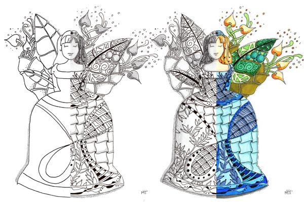 Princesse Zentangle en couleur