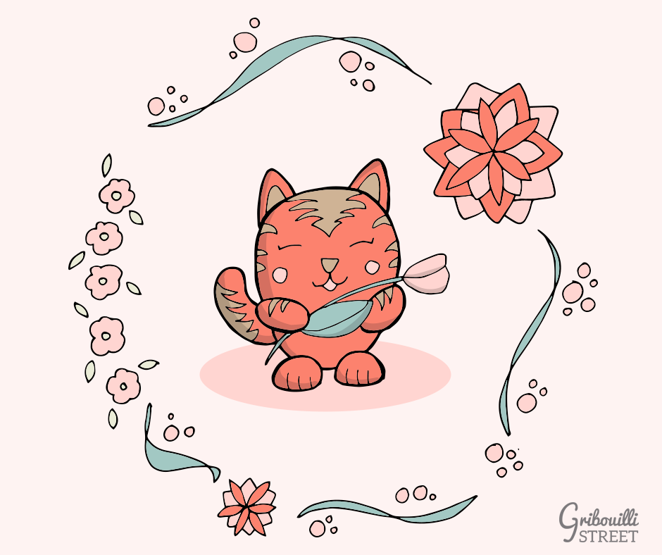 Petit chat rose du printemps