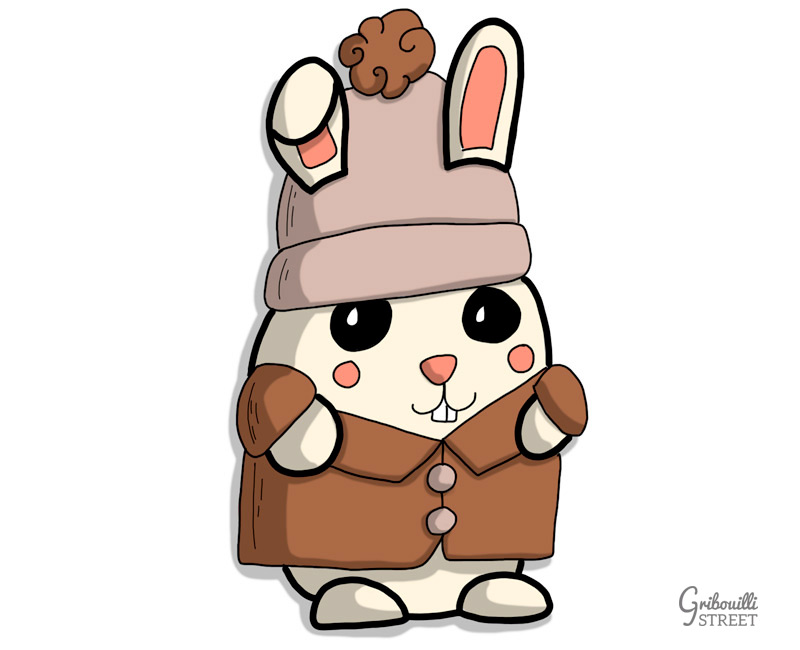 Doodle lapin hiver