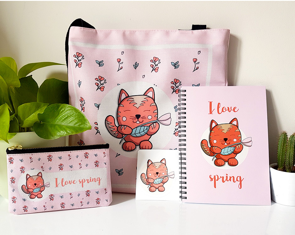 Le chat du printemps - carnet, trousse etc