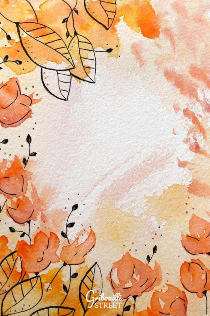 Aquarelle et doodle orange